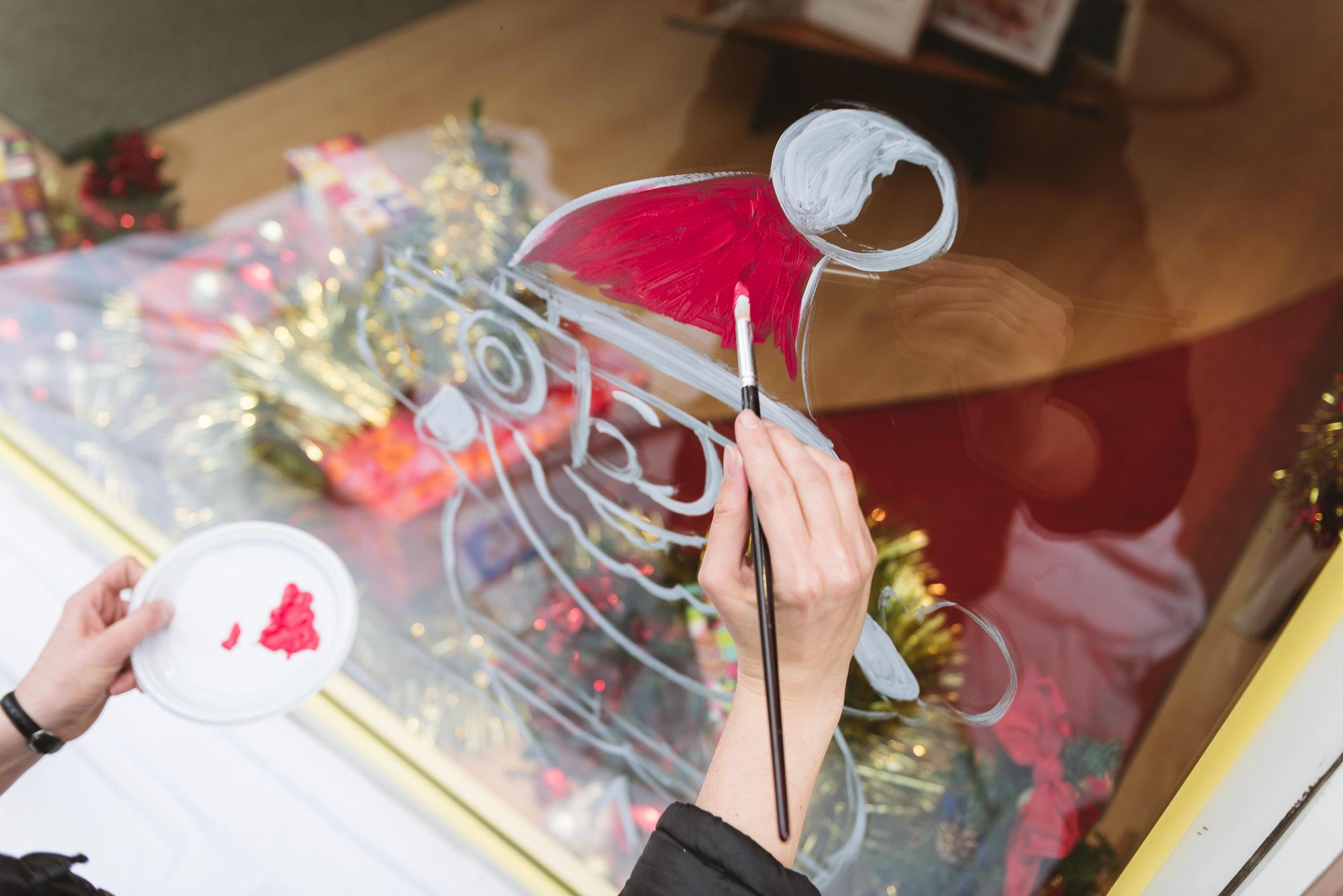 Peinture sur vitrine hiver – Autrement Vu à Sarreguemines