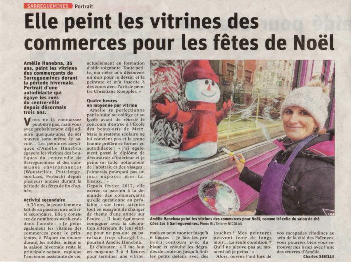 Article du Républicain Lorrain sur Amélie Hanebna, artiste-peintre, peinture sur vitrine, salon de thé, commerçant, Sarreguemines